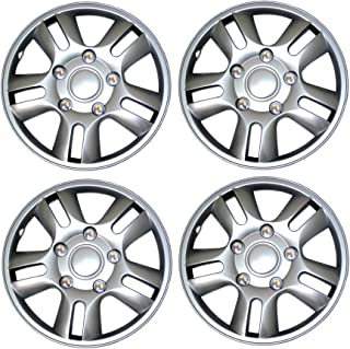 Tuningpros WC3-15-1006-S - Pack of 4 Hubcaps - 15-Inches Style 1006 Snap-On (Pop-On) Type Metallic Silver Wheel Covers Hub-caps