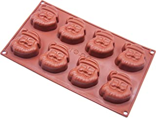 Christmas Santa Claus Silicone Mold, 8 Holes Baking Mold Cake Pan Biscuit Chocolate Mold for Cake Decoration, Ice Cube Tray