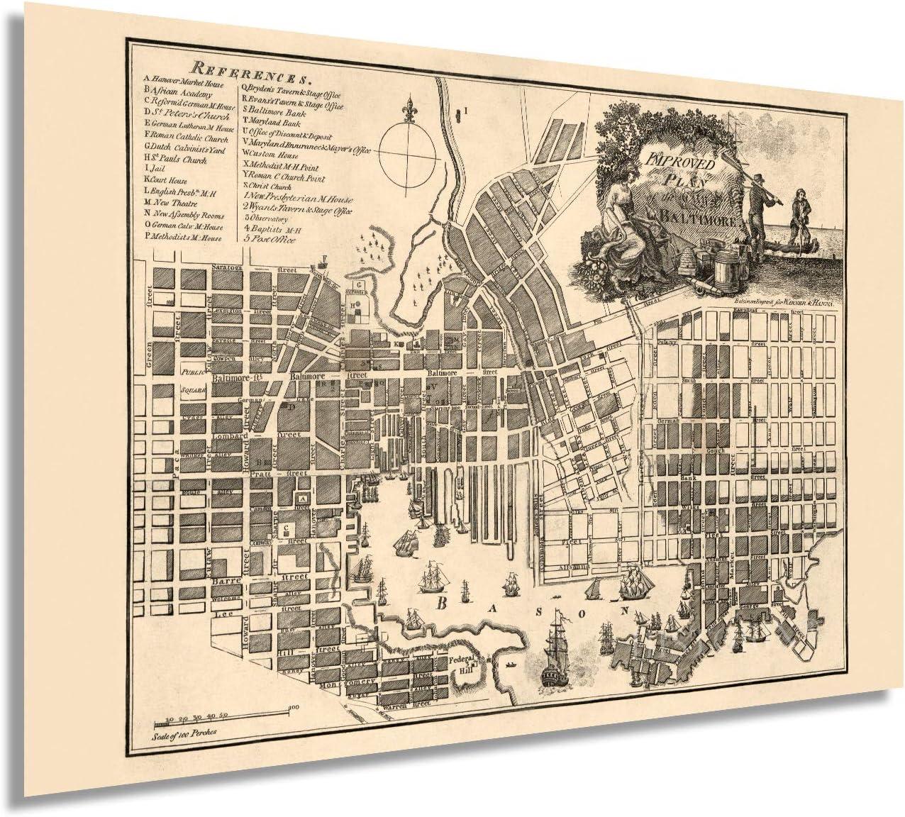 Amazon.com HISTORIX Vintage 20 Baltimore Map Poster   20x20 ...