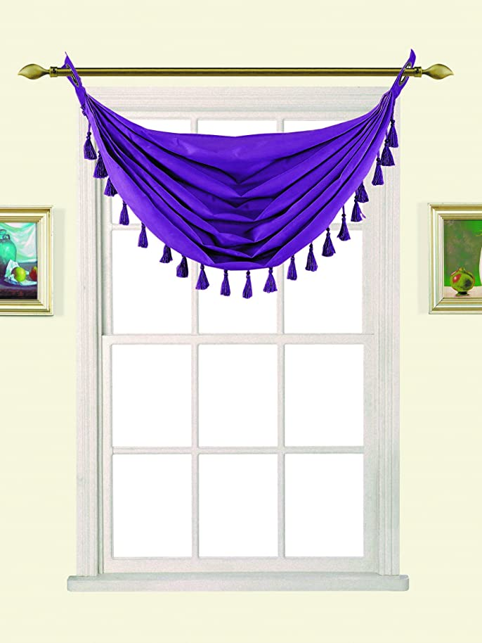GorgeousHome (M12) PURPLE 1pc Solid Elegant Faux Silk Swag Waterfall Antique Grommets Dressing Small Window Valance, w/ Fringes Tassel 50
