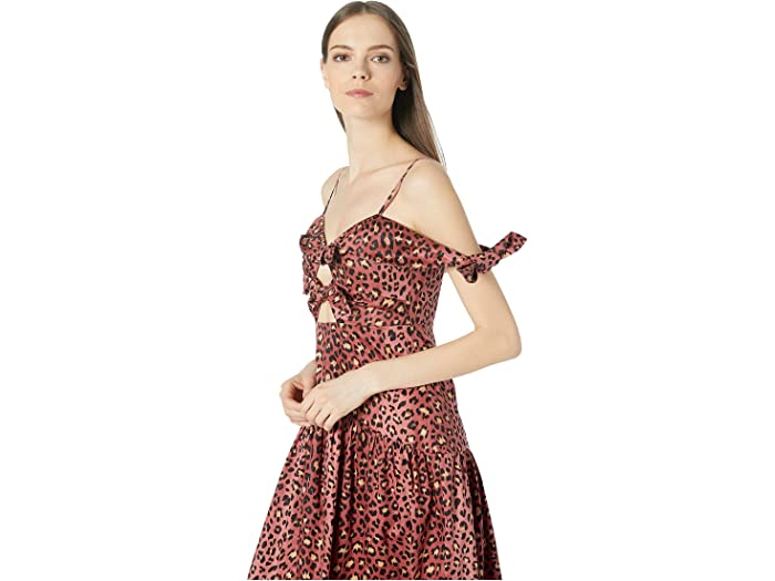 Rebecca Taylor Off-the-shoulder Spring Leopard Bow Dress