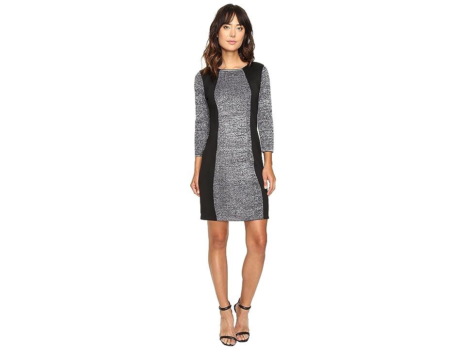 Calvin Klein Sheather Sweater Dress with Scuba Insert CD6W2W9F (Black/Winter White) Women