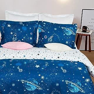NTBAY Microfiber Queen Duvet Cover Set, 3 Pieces Ultra Soft Zipper Closure Bedding Set, Blue Starry Sky