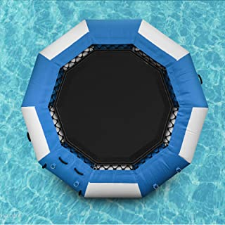 Popsport Inflatable Water Trampoline Series Splash Padded Water Bouncer Inflatable Bouncer Jump Water Trampoline Bounce Swim Platform for Water Sports (Blue, 10Ft)