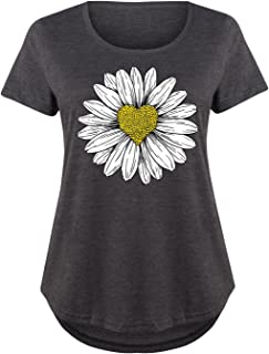 Daisy Heart Drawing - Ladies Plus Size Scoop Neck Tee