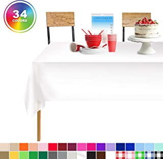 White 12 Pack Standard Disposable Plastic Party Tablecloth 54 Inch. x 108 Inch. Rectangle Table Cover By Zimpleware