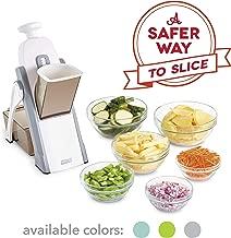 DASH Safe Slice Mandolin Slicer, Julienne + Dicer for Vegetables, Meal Prep & More with 30+ Presets & Thickness Adjuster, Grey