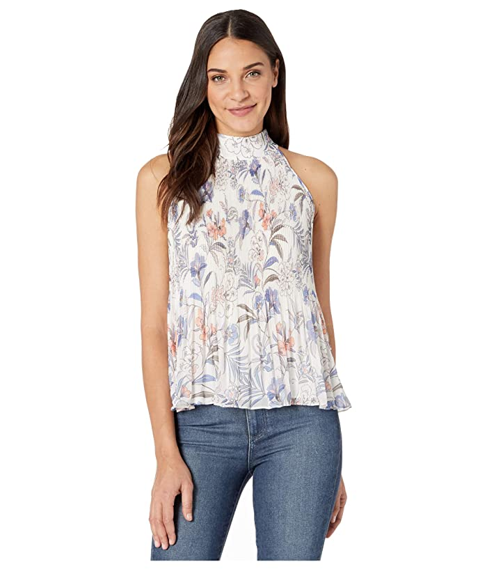 1.STATE  Halter Tie Pleated Paisley Fie Blouse (Soft Ecru Multi) Womens Clothing