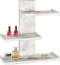 MyGift 3-Tier Vintage Whitewashed Wood Wall Mounted Makeup Organizer Shelves