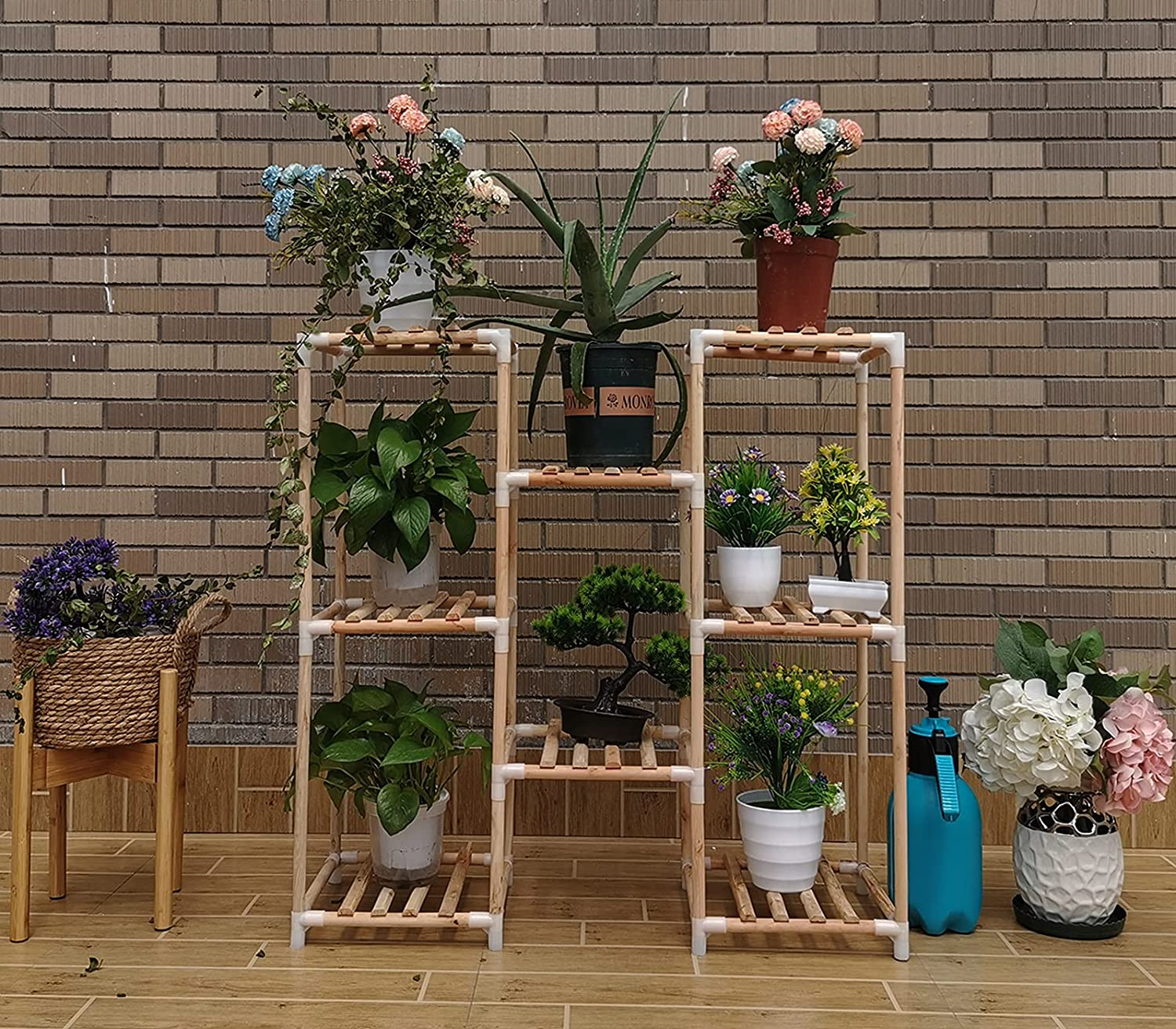 Indoor Plant Stand Shelf Wooden Garden Rack Outdoor Multi-Tiered with 8 Potted Perfect for Patio Living Room Veranda