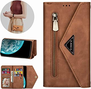 Mylne Galaxy A70 Crossbody Zipper Case,Wallet Purse Handbag with Wristlet & Shoulder Strap Card Slots Pocket PU Leather Flip Kickstand Cover for Samsung Galaxy A70
