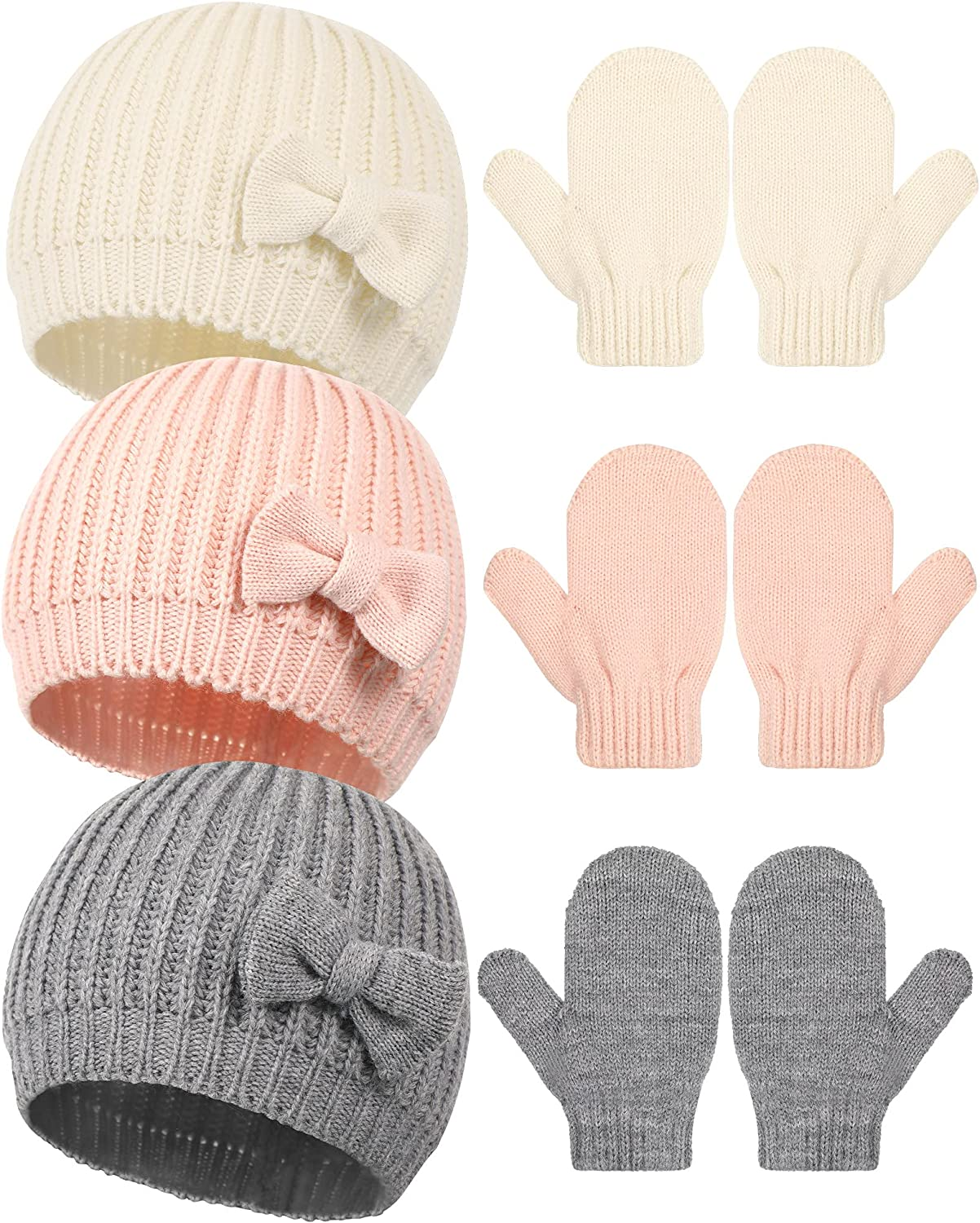 3 Sets Baby Beanies Gloves Soft Lining Cable Knit Winter Caps Cute Bow Beanie Winter Warm Knitted Gloves Infant Toddler Mitten for Baby Girls Boys