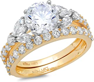 Clara Pucci 2.72CT Round Marquise Cut Simulated Diamond CZ Halo Bridal Engagement Wedding Ring Set 14k Yellow Gold