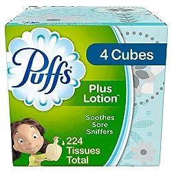 Puffs Plus Lotion Facial Tissues, 4 Cubes, 56 Tissues per Box (224 Tissues Total) - Prime Pantry