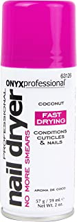 Onyx Professional Spray on Nail Dry w/Island Coconut Scent 2oz – Nail Dryer Quickly Dries Nail Polish While Preventing Smearing & Conditions Cuticles & Nails