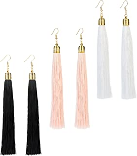 3 Pairs Womens Long Tassel Dangle Earrings for Girls Fringe Drop Earrings Elegant