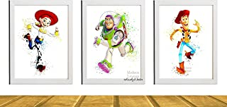 Toy Story Wall Art 3 Piece Set Jessie, Woody and Buzz Watercolor Disney Inspired Art Movie Art Poster Baby Boy Nursery Art Unframed Printed on Archival Matte Premium Photo Paper