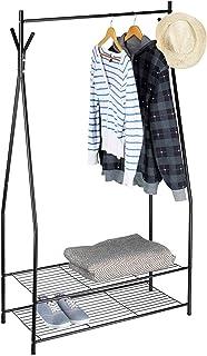 Relaxdays Portant à vêtements SANDRA tringle cintre rangement 2 compartiments rangement chaussures bottes en métal HxlxP: ...