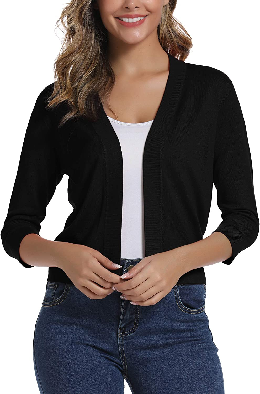 Urban CoCo Women's 3/4 Sleeve Cropped Cardigan Sweater Elegant Shrugs for Women