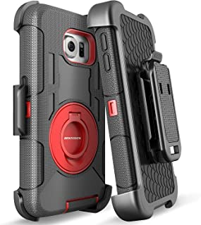 BENTOBEN S6 Edge Case, Galaxy S6 Edge Case, Shockproof Heavy Duty Protection Hybrid Rugged Rubber Case Built-in Rotating Kickstand Belt Swivel Clip Holster Cover for Galaxy S6 Edge/SM-G925 (Black/Red)