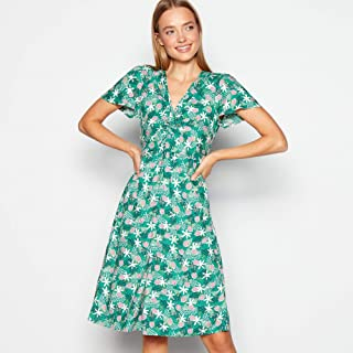 13cc9637f862 Mantaray Womens Light Green Twist Front Knee Length Dress