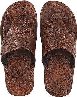 DRUNKEN Men's Cape Strap Open Toe Leather Slippers