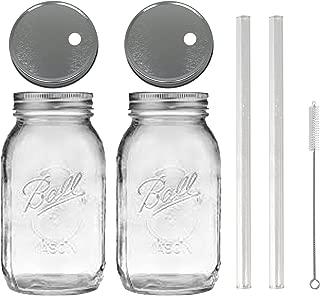 2 Glass Mason Drinking Jars with 2 Straw Hole Lids, 2 Glass Straws (10