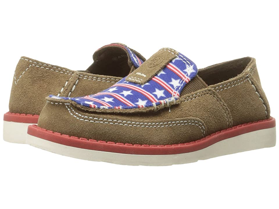 Ariat Kids Cruiser (Toddler/Little Kid/Big Kid) (Dirty Tan Suede/Stars and Stripes Print) Cowboy Boots