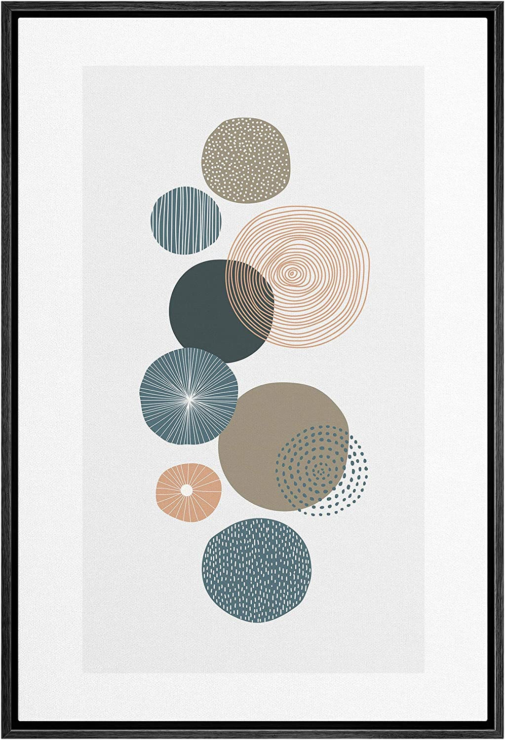 IDEA4WALL Framed Canvas Print Wall Art Striped, Spiral & Dotted Circle Variety Geometric Shapes Illustrations Modern Art Mid-Century Modern Ultra for Living Room, Bedroom, Office - 16