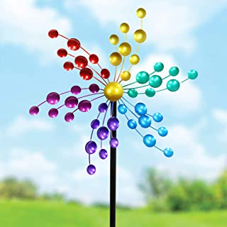 Exhart Kaleidoscope Wind Spinner Garden Metal Stake - Garden Pinwheels w/Multicolor Hand-Painted Kinetic Spinners Decorations – Colorful Garden Windmills Yard Art Decor, 17 x 60 Inches