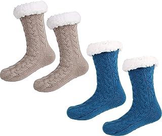sgoseye, 2 Pares de Calcetines CáLidos de Invierno para Mujer y Hombre CóModos Suaves Gruesos Pantuflas Calcetines con Fondo ABS Antideslizante (Azul + beige)