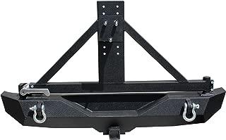 Tuff Stuff Rear Bumper & Tire Carrier w/ Aluminum Handle, Textured - Black 07-18 Jeep Wrangler JK