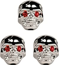 Seismic Audio - SAGA45 - Set of 3 Adjustable Fit Chrome Skull Electric Guitar Knobs with Red Eyes and included Allen Wrench