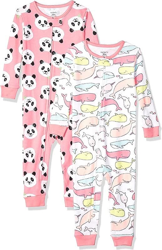 Carter S Baby Girls 2 Pack Cotton Footless Pajamas