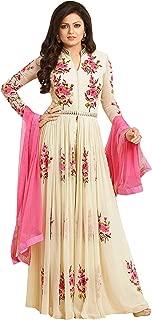 Pop Mantra Women's Georgette Anarkali Salwar Suit Set (70531_Beige_XXX-Large)