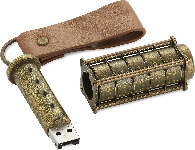 Unidad Flash USB Cryptex: una Unidad Flash USB única protegida mecánicamente por contraseña. De temática Steampunk: 32gb latón