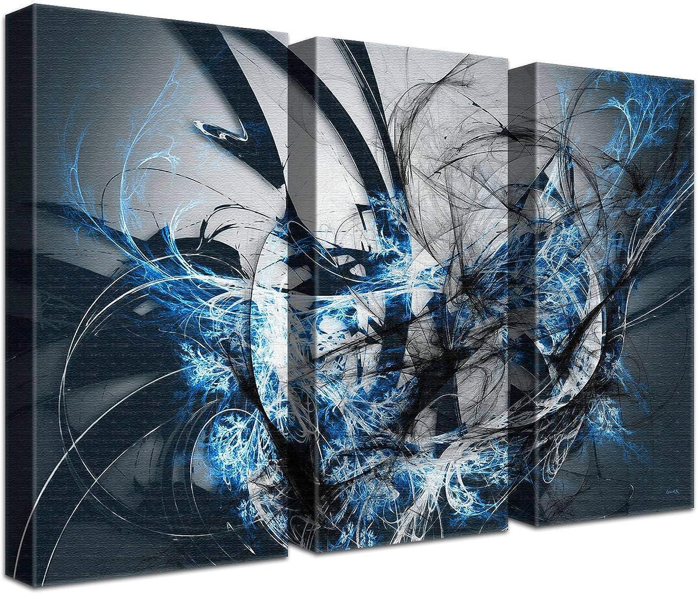 LANA KK Luxus Ausführung Grow Ice  Abstraktes Design Design Design auf 4cm Echtholz, dreiteilig, Blau Schwarz, 150 x 100 cm B074SZ6ZLY   Modern Und Elegant  f33198