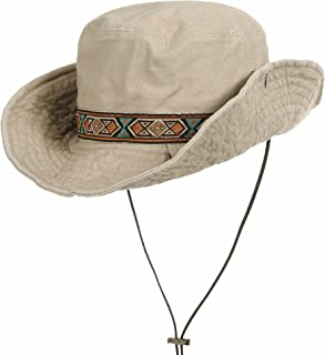 WITHMOONS Boonie Bush Hat Aztec Pattern Wide Brim Side Snap KR8752