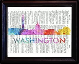 Fresh Prints of CT Washington DC Love Your City Watercolor Skyline Dictionary Art Print Printed On Authentic Vintage Dictionary Book Page