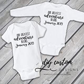 422b6daed Baby Announcement Onesies®, Pregnancy Announcement, Pregnancy Reveal, Our  Greatest Adventure Begins Baby