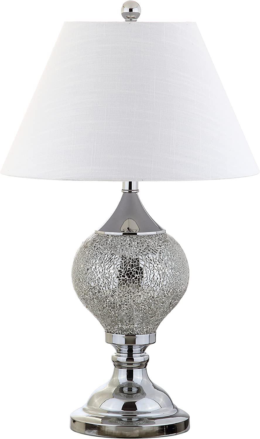Jonathan Y JYL4008A Table Lamp, 16  x 27  x 16 , Silver Chrome with White Shade