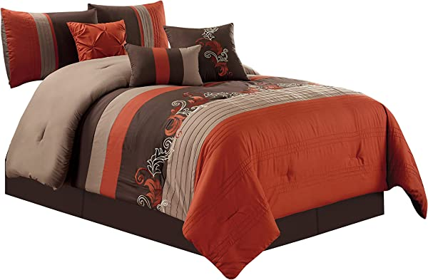 Chezmoi Collection Napa By 7 Piece Luxury Leaves Scroll Embroidery Bedding Comforter Set King Rust Orange Taupe Brown