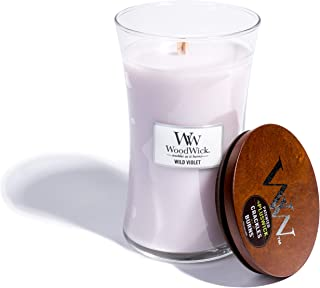 WoodWick Wild Violet, Highly Scented Candle, Classic Hourglass Jar with Lid, Large 7 Inches, 21.5 OZ