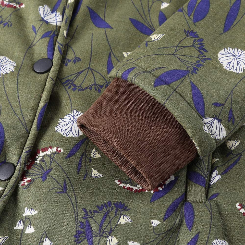 iHENGH Damen Winter Warm Dicker Outwear Parka Mantel Jacke Blumendruck mit Kapuze Taschen Vintage Oversize Coats D Armeegrün