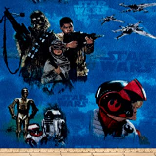 Eugene Textiles Star Wars VII-Heroes-Fleece Blue Fabric by The Yard
