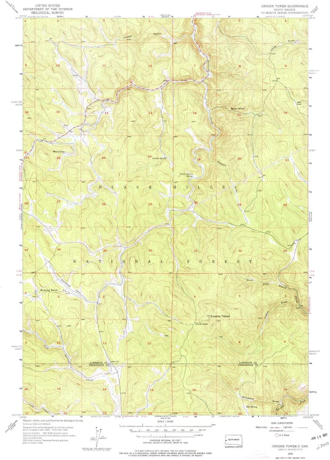 YellowMaps Crooks Tower SD topo map Sale price Scale 1:24000 Mi X 7.5 Challenge the lowest price of Japan ☆