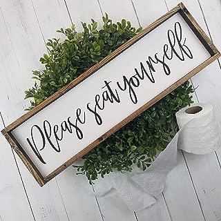 Please Seat Yourself Farmhouse Bathroom Decor Wood Sign