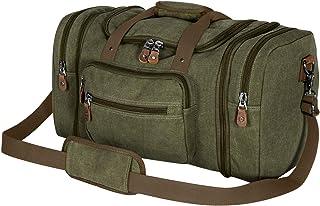 Plambag Oversized Canvas Duffle Bag 50L Tote Travel Weekend Luggage Gym Duffel Bag Army Green