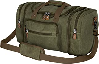 Plambag Oversized Canvas Duffle Bag 50L Tote Travel Weekend Luggage Gym Duffel Bag Army Green