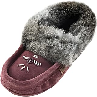 Laurentian Chief Women's Beaded and Rabbit Fur Collar Suede Moccasins Slippers
